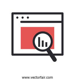 bars chart in lupe and website line and fill style icon vector design