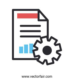 document and gear line and fill style icon vector design