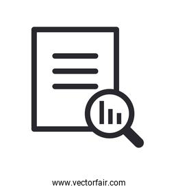 bars chart in lupe and document line style icon vector design