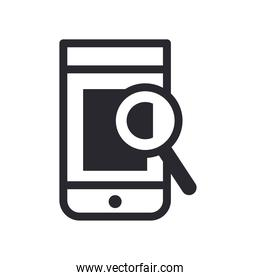 lupe in front of smartphone line style icon vector design