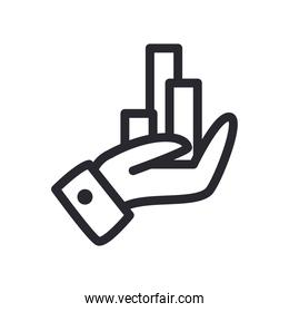 bars chart on hand line style icon vector design