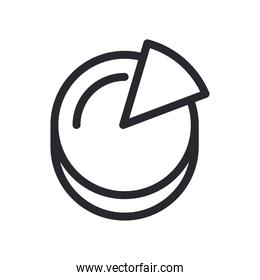 pie chart in lupe and document line style icon vector design