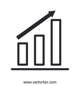 bars chart with increase arrow line style icon vector design