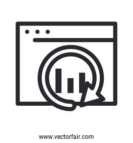 bars chart with repeat arrow on website line style icon vector design