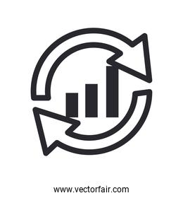 bars chart with repeat arrow line style icon vector design