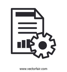document and gear line style icon vector design
