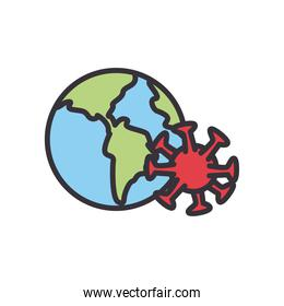 Covid 19 virus with world line and fill style icon vector design