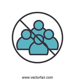 avoid crowd line and fill style icon vector design