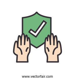 Check mark in shield with gloves line and fill style icon vector design