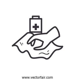 Hand with tissue and battery line style icon vector design