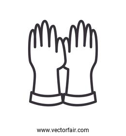 Medical gloves line style icon vector design