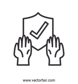 Check mark in shield with gloves line style icon vector design