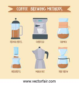 coffee brewing methods, different ways of making hot drink