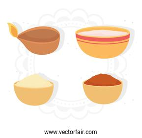 happy bhai dooj, light spices food in bowls icons, indian family celebration
