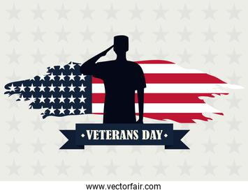happy veterans day, silhouette soldier saluting on starry background