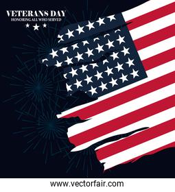 happy veterans day, american flag in grunge style over dark background