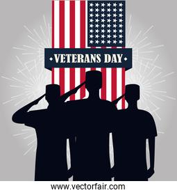 happy veterans day, soldiers saluting pendant american flag