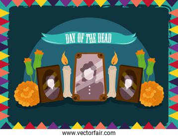 day of the dead, photos frames candles and flowers, mexican celebration