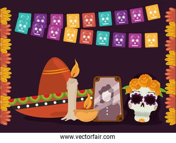 day of the dead, photo frame hat catrina candle and flowers, mexican celebration