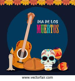 day of the dead, skull guitar maracas bread and candle, mexican celebration
