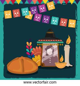 day of the dead, photos frame candles bread flower and pennants decoration, mexican celebration