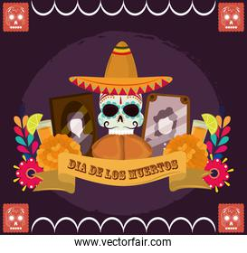 day of the dead, skull with hat bread photos frame flowers, mexican celebration