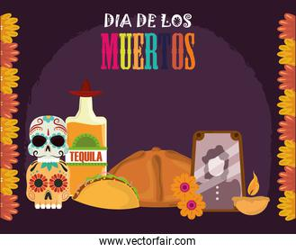 day of the dead, photos frame tequila bottle bread taco candle, mexican celebration