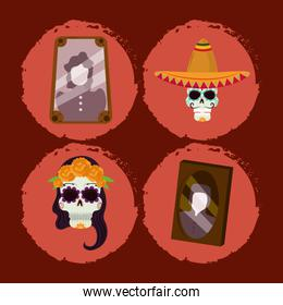 day of the dead, photos frame catrina skull with hat mexican celebration icons