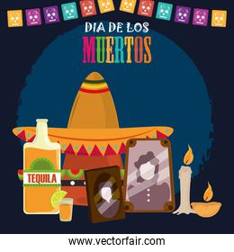 day of the dead, photos frames traditional hat tequila candles and pennants, mexican celebration