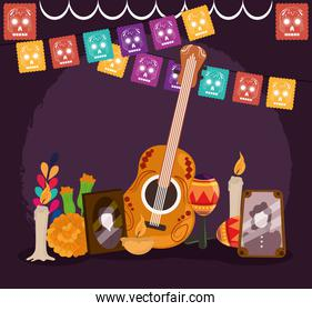 day of the dead, photos frames guitar maraca candle flowers pennants, mexican celebration