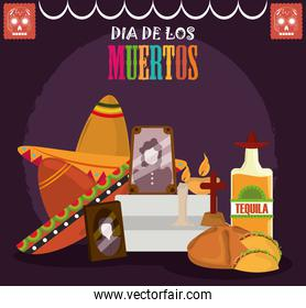 day of the dead, altar with photos frames tequila bread hat and candles, mexican celebration