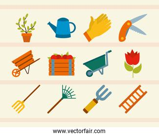 icon set of watering can and gardening, flat style