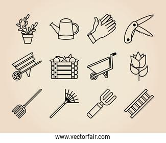 icon set of watering can and gardening, line style