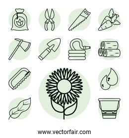 sunflower and gardening icon set, line style