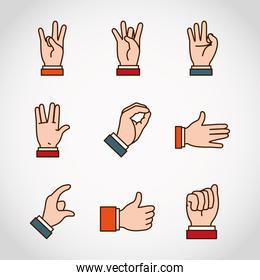 Hands sign Language and expressions icon set, line and fill style