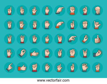 Hands sign Language icon set, line and fill style