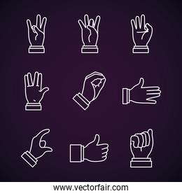 Hands sign Language and expressions icon set, line style