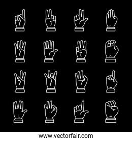 Hands sign Language icon set, line style