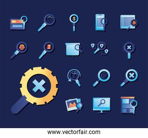 search gradient style set of icons vector design