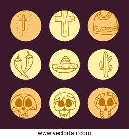 Mexican day of deads free form line style icon set vector design