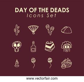 Mexican day of deads free form line style set of icons vector design