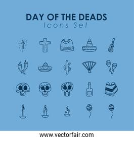 Mexican day of deads free form line style set icons vector design