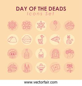 Mexican day of deads free form line style collection of icons vector design