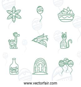 Mexican day of deads free form line style icons collection vector design