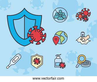 Covid 19 virus test line and fill style set icons vector design