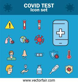 Covid 19 virus test line and fill style set of icons vector design