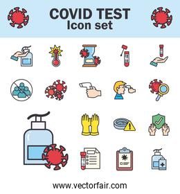 Covid 19 virus test line and fill style symbols set vector design