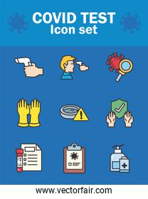 Covid 19 virus test line and fill style icons collection vector design