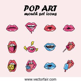 pop art female mouth line and fill style set icons vector design