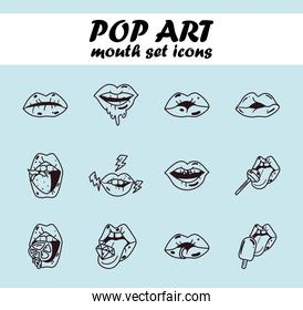 pop art female mouth line style set icons vector design